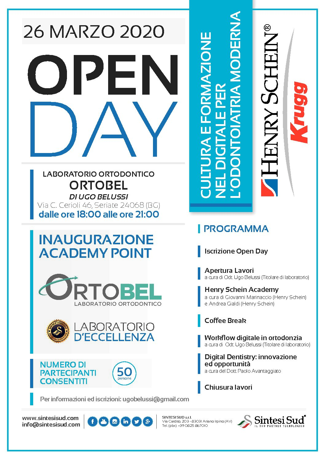 OPEN DAY 26 MARZO 2020 18-21